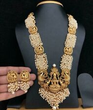 Indian Women Necklace Set Antique Plated Fashion Temple Jewelry Wedding Pearl