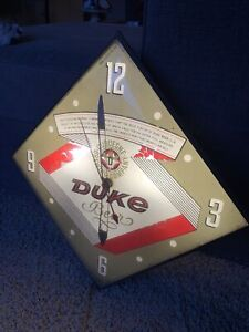 Vintage Duke Beer Duquesne Brewing Company Illuminated Clock by PAM Clock 1965