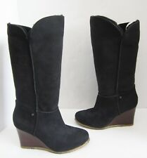 UGG Australia 3195 Aprelle Black Wedge Shearling Knee Boots 10