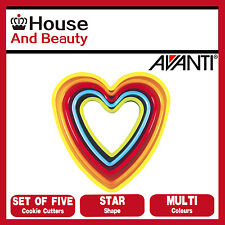 NEW Avanti Heart Cookie Cutters 5 Piece Set - Multi Coloured 16517