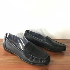 Women SAS Tripad Comfort Wink Black Textured Leather Penny Loafer Size 9.5 M