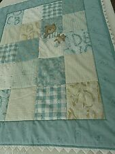 Handmade unisex teal teddy bear hand Quilted Blanket  for Baby  room
