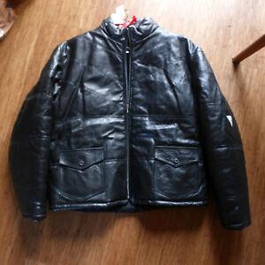 Mens vintage unworn Sharpeye sample black leather Puffa jacket UK XL