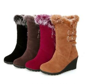 Womens Winter Boots Faux Suede Snow Mid-Calf Booties Fur Trim Wedge Heel Shoes