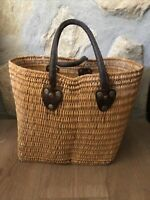 Vintage FRENCH WINE BASKET/ TOTE,Leather Handles