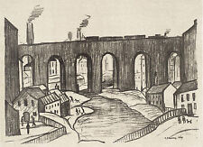 LS Lowry Framed Print – The Viaduct Stockport Lithograph (Picture Painting Art)