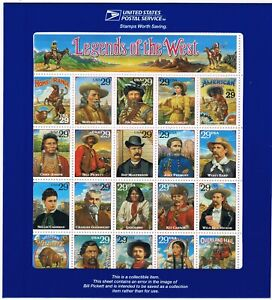 SC #2870 Error 29c Mint Sheet: Legends of the West - Recalled due to wrong photo