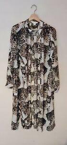 Long Sheer Animal Leopard Print Shirt Button Down Blouse Womens Size 18