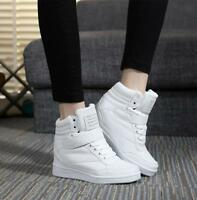 2018 Women's Lace Up Athletic PU Leather High Top Hidden Wedge Heel Casual Shoes