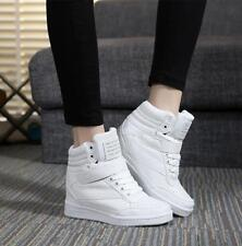 Womens Lace Up Athletic PU Leather High Top Hidden Wedge Heel Casual Shoes Boots