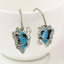Rhinestone Enamel Special Blue Butterfly Dangle Hoop Crystal  Earrings Jewelry