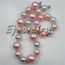 Hot Sale White Pink Big Pearl beads chuny Bubblegum necklace&bracelet set CB782