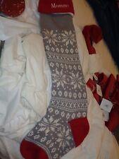 "Pottery Barn Kids Fair Isle knit red  Snowflake Stocking Christmas mono ""Mommy"""