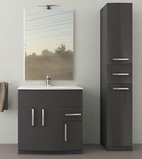 Mobile bagno London antracite lucido, cm 80, con specchio a led,lavabo e colonna