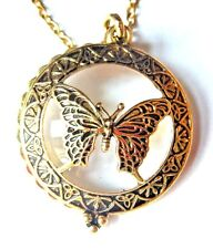 BUTTERFLY MAGNIFYING LENS PENDANT glass gold librarian reading jeweler loupe H2