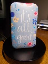 "MANICURE SET ""IT'S ALL GOOD"" IN WHITE LETTERS CLOTH BLUE COVER 6 TOOLS INCLUDED"