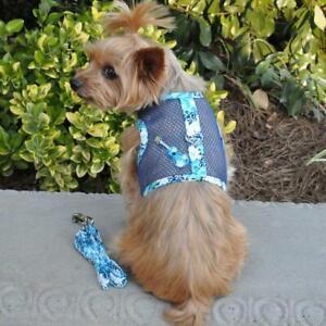 Ukulele Blue Hibiscus Cool Mesh Dog Harness & Matching Leash   XS-L