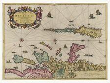 Old Vintage Antique Hebrides Scotland decorative map Blaeu ca. 1655