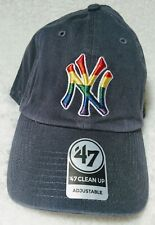 NY Yankees 47 Brand Clean Up Adjustable On Field Rainbow Pride Hat Cap MLB New