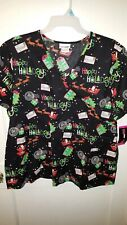 Scrub Star Happy Holidays Santa design scrub Top Christmas Plus Size 3X