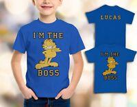 Garfield I`M The Boss Funny Boys, Kids Quality T-shirt  Short Sleeve Top