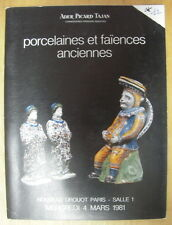 CATALOGUE VENTE DROUOT PORCELAINES FAIENCES FRANCAISES DE CHINE ITALIENNES
