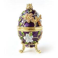 Bee & Flowers Faberge Egg wi Rich Enamel & Sparkling Rhinestones Trinket Box