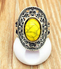 YELLOW TURQUOISE STAINLESS STEEL VINTAGE STYLE RING SZ 10-COSTUME JEWELRY KING