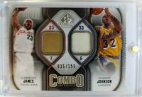 2009-10 UD SP GAME USED JERSEY COMBO LeBron James, Magic Johnson, Rare #'d /155