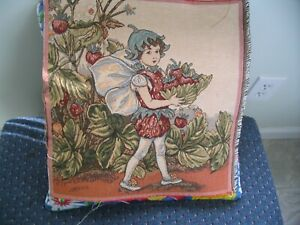 Tapestry Strawberry Fairy Cecily Barker 14 x 14 Unfinished Panel Free Shipping