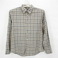 JOHN VARVATOS Mens Thin Cotton Plaid Button Up Casual Dress Shirt Sz L