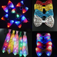 LED Flash Light Up Sequin Mens Tied Bow Tie Plain Necktie Ties Wedding Party