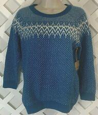 Telluride Ski Sweater Womens Sz M Blue Lambswool Blend Pullover Knot Detail New