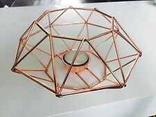 Modern Copper Rose Gold Dining Tealight Candle Holder Geometric Wire Cage Decor