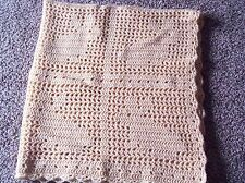 Crochet Filet Bunny baby afghan 45x46 blanket cornmeal color
