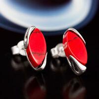 Koralle Silber 925 Ohrringe Damen Schmuck Sterlingsilber S454