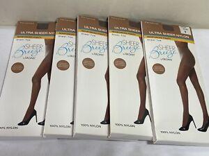 "5- Gildan Sheer Breeze Pantyhose Stocking Size B Mocha New In Box 4'10""- 5'6"""