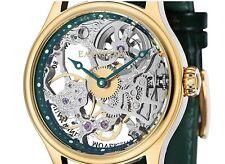 18K Gold P Thomas Earnshaw Men's Bauer Flywheel Skeleton Watch Green ES-8049-05