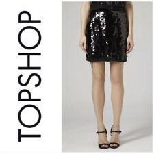 Topshop PREMIUM Black Sequin Feather Skirt Size 4 PETITE BNWT