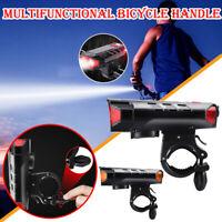 Solar Powered USB Rechargeable LED Bicycle Headlight Bike Head Light Lamp+Horn