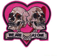 2 SKULLS ON HEART WE ARE AS ONE EMBROIDERED IRON ON PATCH / BADGE / FOR BIKERS