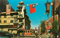 Old Chrome Postcard CA G018 San Franscisco Chinatown Trolley People Old Cars