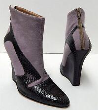 New Manolo Blahnik 39 8.5M Genuine Snake Skin & Wool Platform Wedge Ankle Boots