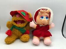 1987 Henson Christmas Muppet Babies Baby Miss Piggy and Fozzie Bear Plush