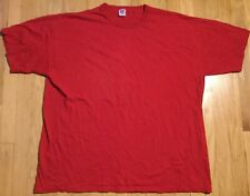 Vintage 90s RUSSELL ATHLETIC red shirt 2XL blank solid XXL plain tshirt basic