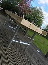 INDUSTRIAL RUSTIC TABLE Solid Wooden Sleeper KEY CLAMP TABLE /Garden Furniture