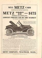 1912 METZ 22 ROADSTER CAR  AD - ORIG VIN PRINT AD