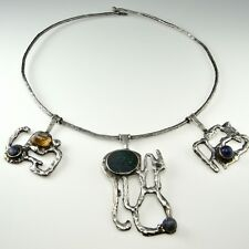 Guy Vidal Inspired Brutalist Rustic Sterling Silver Black Opal Collar Necklace