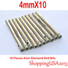 10 Pc 4mm Diamond Coated Drill Bits Set Hole Saw Cutter Tool Glass Granite Tile*