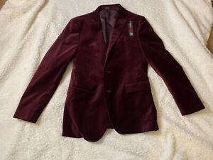 J Ferrar Burgundy Velvet Suit Coat Size 44 R. B48
